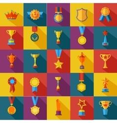 set of flat awards icons vector image