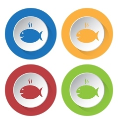 set of four icons - grilling fish with smoke vector image