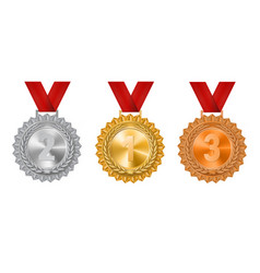 Set of gold silver and bronze medals on a white vector