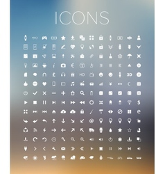Set of icons on blurred background vector