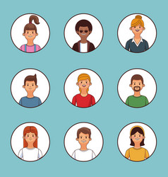 Set of people profile vector