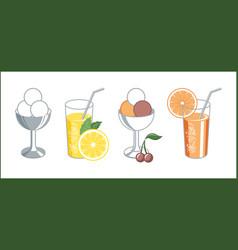 set of retro icons of lemonade and ice cream vector image