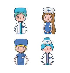 Set professional doctors and nurses vector