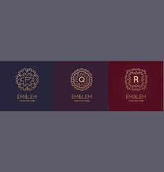 set three simple and elegant monogram design vector image