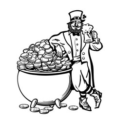 sketch of leprechaun holding beer mug leaning on vector image