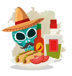 skull with hat and tacos to day of the dead vector image