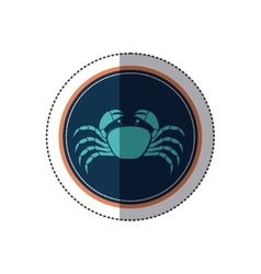 sticker circular ornament with crab inside vector image