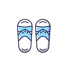 taiwanese slippers blue and white rgb color icon vector image
