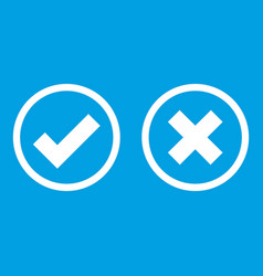 Tick and cross selection icon white vector