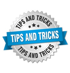 Tips and tricks 3d silver badge with blue ribbon vector