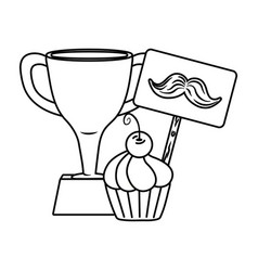 trophy with moustache and muffin black and white vector image