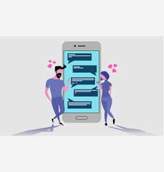 two lovers chatting with their mobile phones vector image