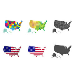 Usa map set collection united states america vector