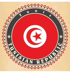 Vintage label cards of Tunisia flag vector