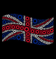 waving united kingdom flag mosaic of gear icons vector image