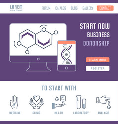 Website banner and landing page donorship vector