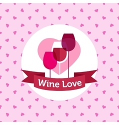 wine shop or bar logo design with hearts vector image