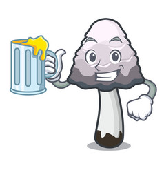 With juice shaggy mane mushroom mascot cartoon vector