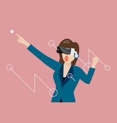 woman using virtual reality headset vector image