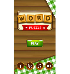 Word puzzle game assets for mobile game design or vector