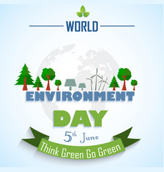 world environment day background with globe and gr vector image
