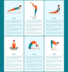yoga poses collection flexible woman color card vector image