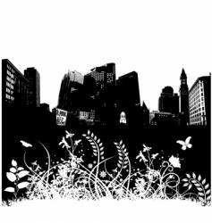 city floral grunge vector image vector image