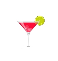 Cocktail icon glass of cold beverage lime vector image vector image