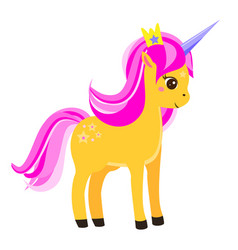 cute yellow unicorn with pink mane and crown vector image vector image