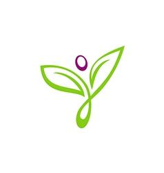Leaf abstract beauty yoga people logo vector