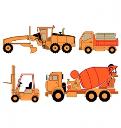 onstruction cars vector image vector image