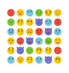 set of emoticons flat design cute emoji icons vector image
