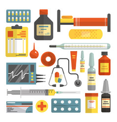 set of hospital and medical icons in flat vector image