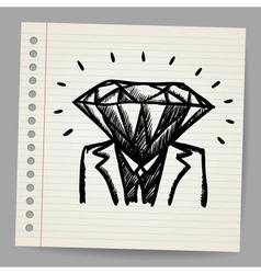 Doodle businessman-diamond sketch concept vector image vector image