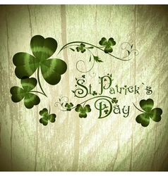 Stpatrick day greeting with shamrocks vector