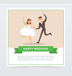 bride in white wedding dress and groom in black vector image vector image