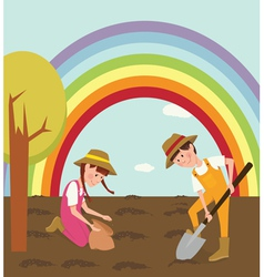 Children planted seeds vector image