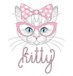 Cute kitty portrait with pin up bow tie on head vector image