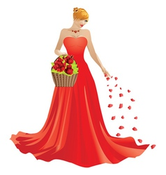 Girl and basket of roses vector image