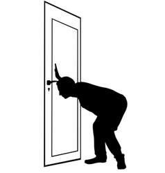 Man spying through keyhole vector