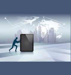 silhouette business man pushing tablet computer vector image vector image