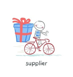Supplier supplier rides a bike with the goods vector