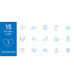 15 decoration icons vector image