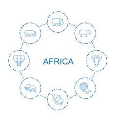 8 africa icons vector