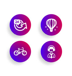air balloon 24 hours and bicycle icons set vector image