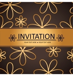 Art brown golden background invitation card vector