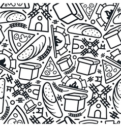 Bakery seamless pattern in thin line style vector image
