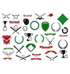Baseball game sport items and designelements vector
