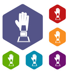 baseball glove award icons set hexagon vector image