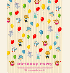 birthday party poster design - cartoon animals fly vector image
